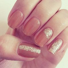 Gold accent nail art