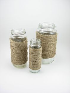 Upcycled Glass Jar Vases Wrapped in Jute Set of 3 by mcdonuts, $9.50