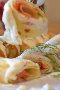 smoked salmon stuffed crepes
