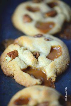 Salted Caramel Pecan Cookies Recipe from addapinch.com