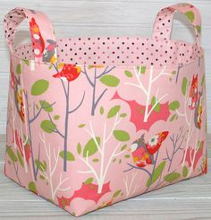 Fabric Basket Storage Bin - Pink Owls In Treetops