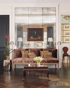 interior, living rooms, antique glass, elle decor, dream homes, mercury glass, antique mirrors, small spaces, mirrored walls