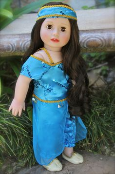 Aladdin inspired Jasmin princess fits American Girl. Doll by Harmony Club Dolls. Visit our store http://www.harmonyclubdolls.com