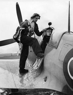 Female Pilot Lettice Curtis with a Spitfire during the war