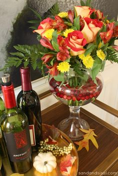 Thanksgiving Flower Arrangement- add cranberries to the water  #PFdecorates