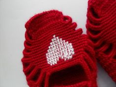SALE Home Slippers Valentines Day Gift Cherry Ruby Slippers Crochet Slippers White Heart Hand Embroidered Heart Fashion on Etsy, $18.00