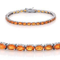 Liquidation Channel | Jalisco Fire Opal Bracelet in Platinum Overlay Sterling Silver (Nickel Free)