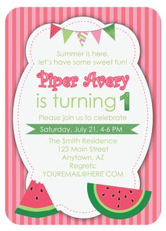 24 Customizable Watermelon Theme Party Pack by TheTrendyTattletale