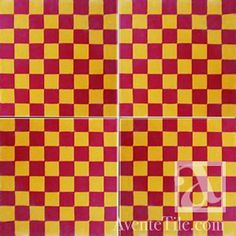 Red and Gold - Geometric Geo 18 8x8 Handmade Cement Tile | Avente Tile