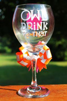 Birthday Owl Sorority Sister Mascot Personalized Little Sis Big Sis Rush Gift Wine Glass. $24.99, via Etsy.    I want it.