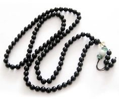 6mm 108 Black Agate Beads Tibetan Buddhist Prayer Meditation Mala Necklace