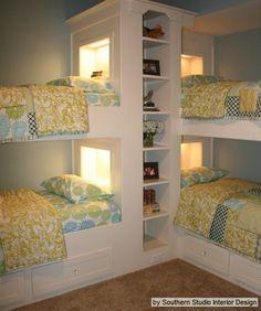 interior design, bedroom idea, bunk beds, beach houses, kid rooms, bunk rooms, studio interior, 4 kids, girl rooms
