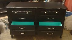 inside of drawers, different color