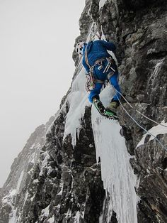 """Nick Bullock making the possible second ascent of Le Panthere Rose (VI,6) on Raeburn's Wall, Ben Nevis in January 2012. The route was first climbed led by Godefroy Perroux in April 1993, but despite several attempts, there have been no reported repeats. This year's team reported that """"after a delicate start, lots of funky ice led to the top. Recommended!"""" (Photo Keith Ball)"""