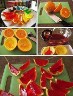 """Jello Oranges! :DDD yayyayyy!   You cut oranges in half, then squeeze out the juice with a juicer or somehow peel out the slices. Then keep the skin (would probably be better if the oranges had thick skin). Make the Jello and instead of using regular cups or tiny bowls, you use the orange shells instead. After refrigerating and letting the Jello harden, you can cut the """"Orange Jellos"""" in half or thirds and VOILA! Orange Jellos, ready to go! :D great for kid's parties or summer time snacks!"""