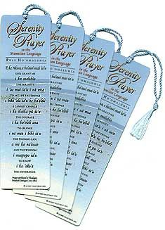 A restful Hawaiian ocean scene is the background for the translation of the popular Serenity Prayer.  English is printed below on this sturdy laminated bookmark with tassel.  $3.49 each