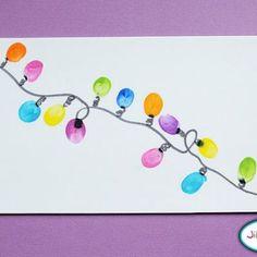 Thumbprint Christmas Light crafts for kids