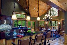 light design, cozy kitchen, lighting fixtures, kitchen photos, rustic kitchens, dream hous, bar stools, open kitchens, decor idea
