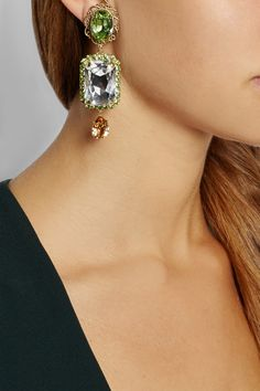 Dolce & Gabbana | Gold-plated Swarovski crystal clip earrings | NET-A-PORTER.COM
