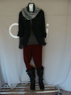 CAbi Ruby Cords and Striped Ruched Crew with Limited Addition CAbi jacket and Chinchilly Scarf.