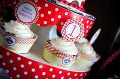 Sock monkey party - printable cupcake wrappers & toppers from Chickabug