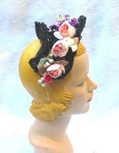 Victorian 1860's Fanchon Bonnet Hat with Flowers.
