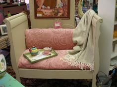 Recycled a crib and made a daybed.  Great way to make use of your child's crib!