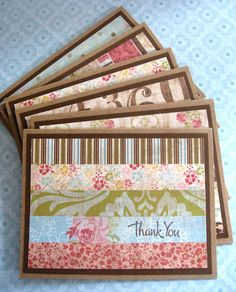 Set of Handmade Thank You Cards - Great way to use up strips of patterned paper!