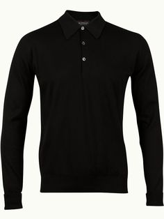John Smedley Finchley Long Sleeve Polo Shirt - Black - Available to buy at http://www.afarleycountryattire.co.uk/product-tag/john-smedley-finchley-long-sleeve-polo-shirt/ #johnsmedley #mensfashion #poloshirt #afarleycountryattire