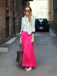 go bright pink maxi, fashion, skirt style, blazer, women's jeans, bold colors, bright colors, travel outfits, maxi skirts