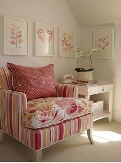 """An old chair was left here when we moved. I am dreaming of recovering it sometime and then it will be """"my"""" chair - for reading, thinking, etc. I love the combo of fabrics on here although not sure about the colors..."""