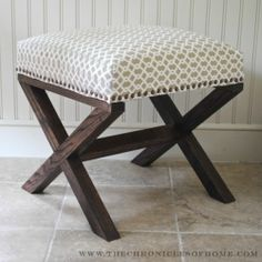 Tutorial on how to make an X leg upholstered bench from scratch.