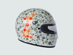 Death Spray Customs gray & orange Colour Blind helmet