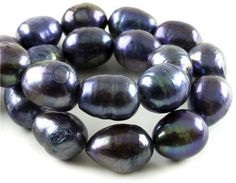 14in Freshwater #Pearl Strand- 10-11mm Rice- Blue #DIY #craft #jewelry