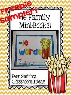 FREEBIE Sampler Printable Phonics Mini-Books for the -ie Family #free #TPT #FernSmithsClassroomIdeas