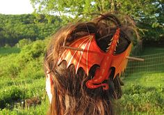 Red Dragon Hair Stick Leather Barrette by LauraChilsonStudios, $34.00