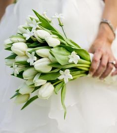Bouquet of white tulips and stephanotis for green wedding (or to go with any color, really...it's all greenery and white)   Photo by Bamber Photography