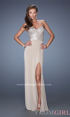 Floor Length Strapless Prom Dress by La Femme at PromGirl.com