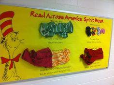 Read Across America spirit week bulletin board