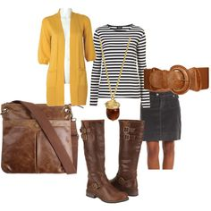 Black and White Stripes with Yellow Cardigan - love