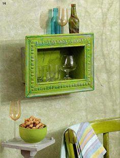 An empty frame + a cardboard box = cute wall shelf  - Love this idea!!