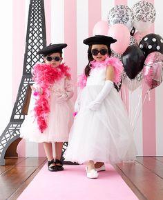 Kid's birthday party activity! ParisDamask Birthday Party! #paris #damask #kids #birthday #party #pink #eiffel #dressup #activity #game #runway #birthdayexpress @David Dahlquist Express
