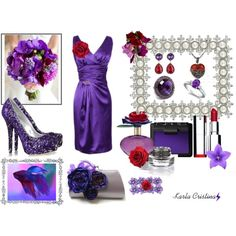 Red Rose and Purple Flower Inspired, created by karla-cristina on Polyvore