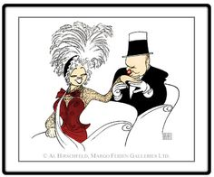 """W. C. Fields & Mae West: My Little Chickadee, Color Edition  Hand signed by Al Hirschfeld  Limited-Edition Lithograph  Edition Size: 100.  21"""" x 27"""""""