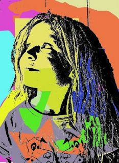 kids pop art--self portrait  photo printed on transparency paper with colored construction paper underneath