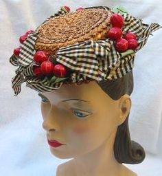 vintage 40's hat - cherries and gingham