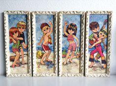 4 Vintage Framed Big Eyed Children Prints by Lee by CurlsAllAround, $200.00