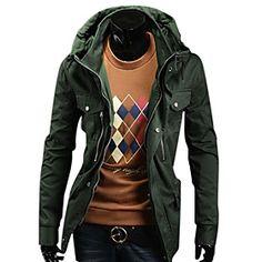 Men's Casual Medium Style Hoodies Cardigan Jacket(Army Green)