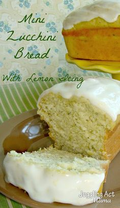 Mini Zucchini Bread with Lemon Icing Get the recipe here: http://ow.ly/yYUxJ  #zucchini #quickbread #lemon