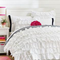 Rufflicious Quilt + Sham, White #pbteen